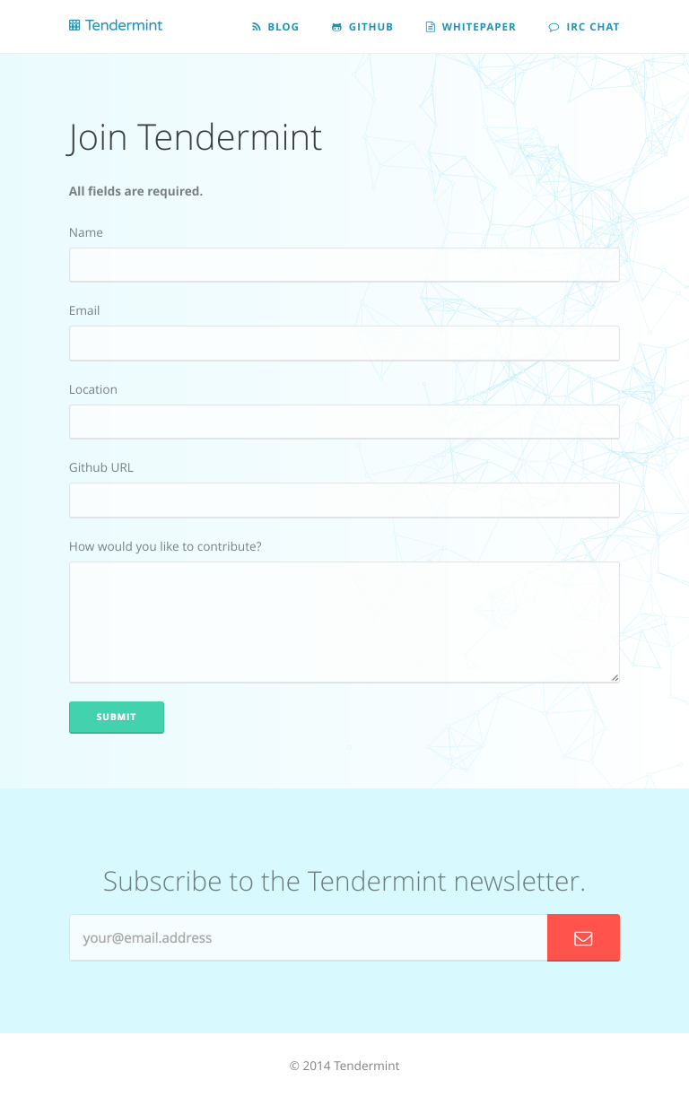 Tendermint | Form Page, Tablet