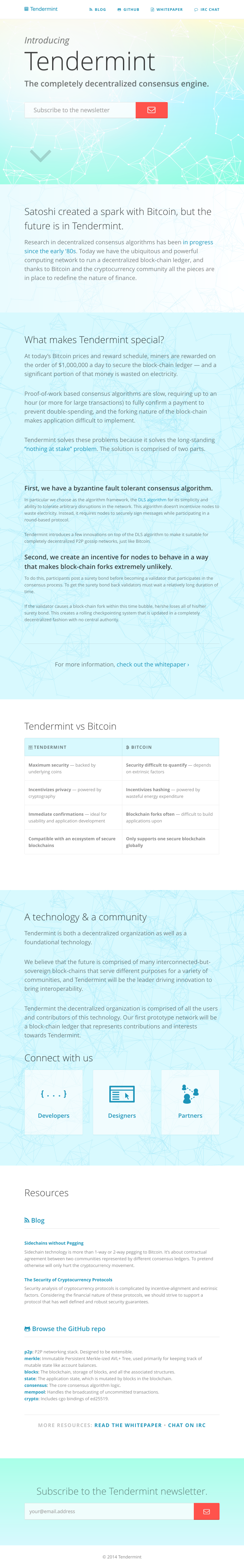 Tendermint | Landing Page, Tablet