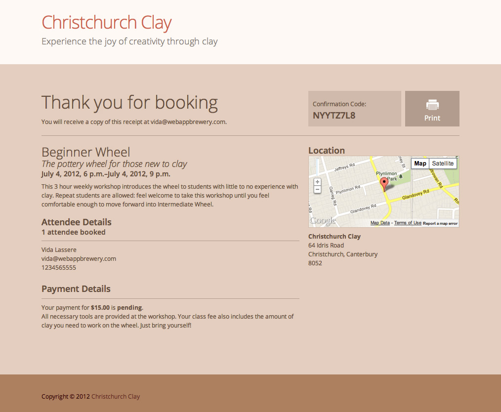 ZenBookings | Booking Confirmation Example